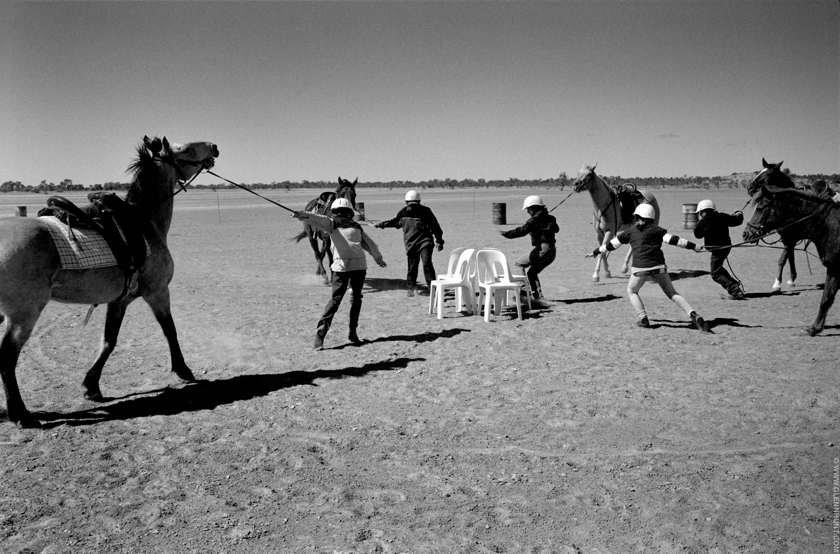 Horses in the Australian outback. Birdsville Races, Lightning Cr