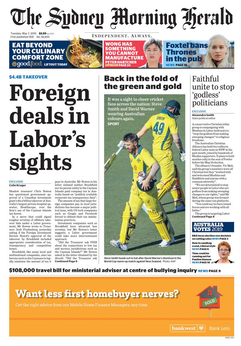 Sydney Morning Herald Page 1