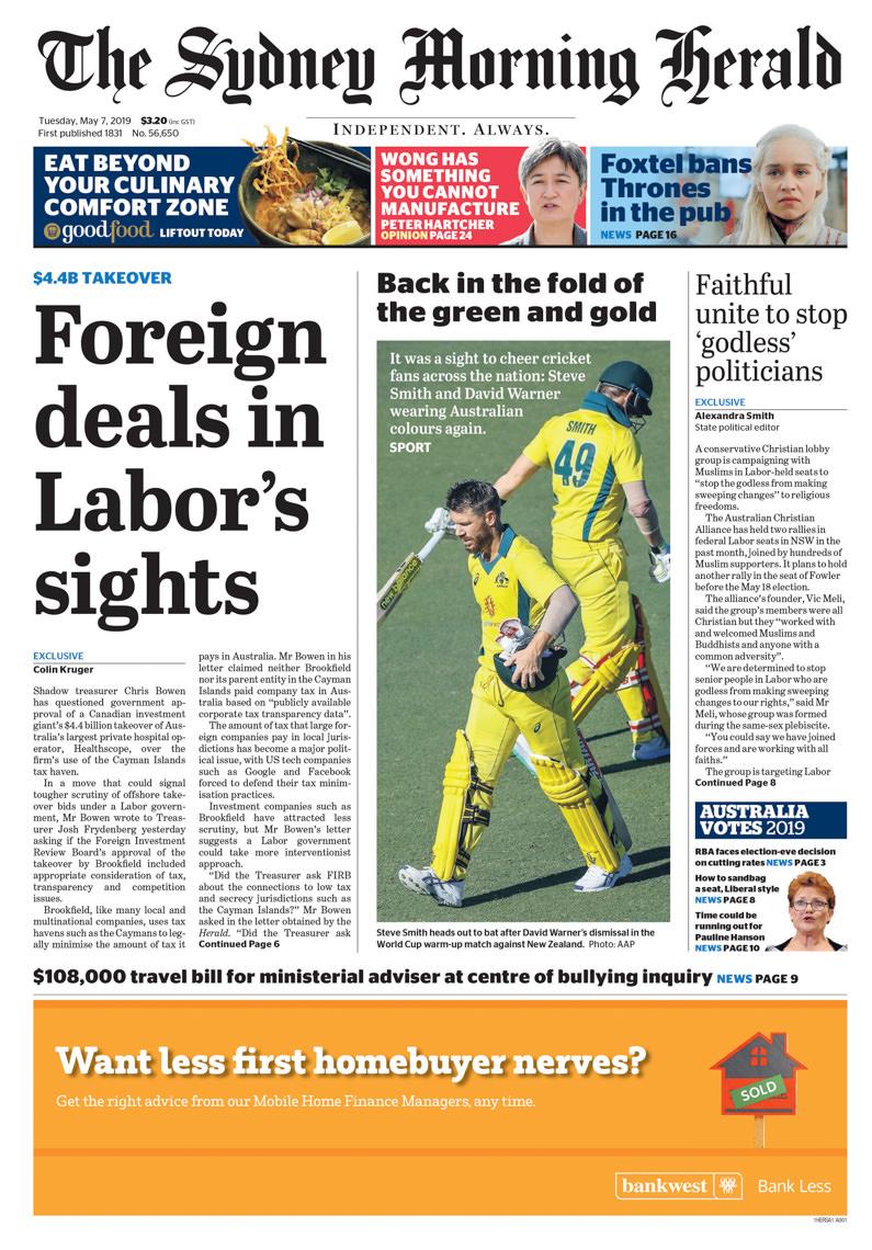 Sydney Morning Herald Page 1